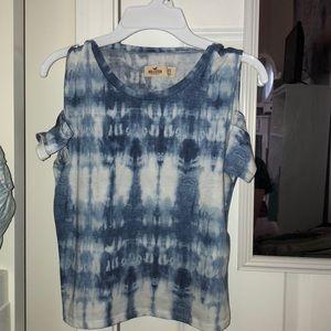 Blue tie dye cold shoulder shirt